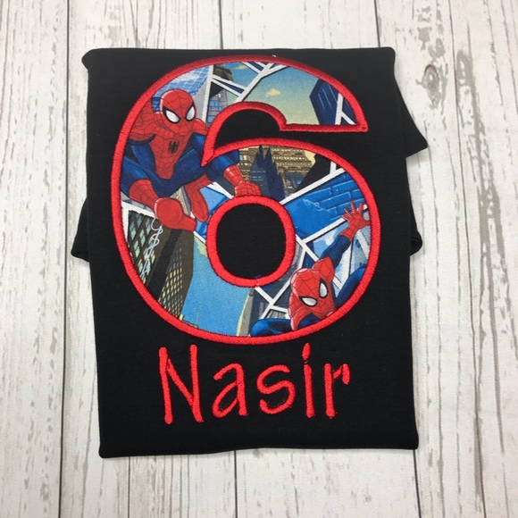689eb1144e615 Customized spiderman birthday shirts